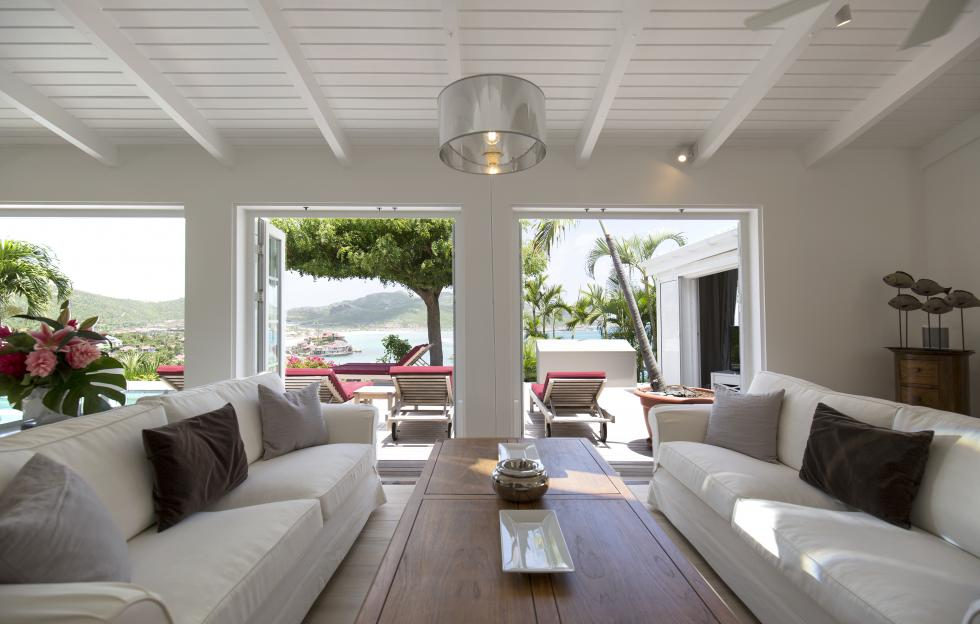St Barts Villa Rentals By Owner - View on St Jean Bay - Living Room